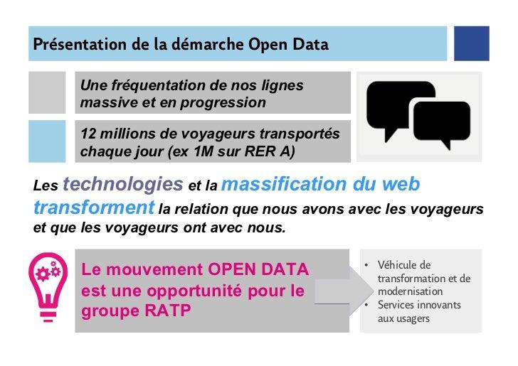 Présentation de la démarche Open Data      Une fréquentation de nos lignes      massive et en progression                 ...