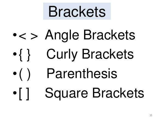 Brackets •< > Angle Brackets •{ } Curly Brackets •( ) Parenthesis •[ ] Square Brackets 33