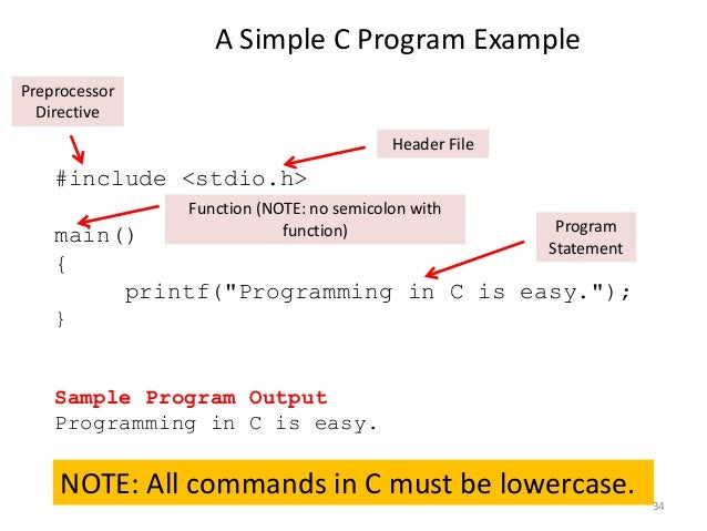 """A Simple C Program Example #include <stdio.h> main() { printf(""""Programming in C is easy.""""); } Sample Program Output Progra..."""
