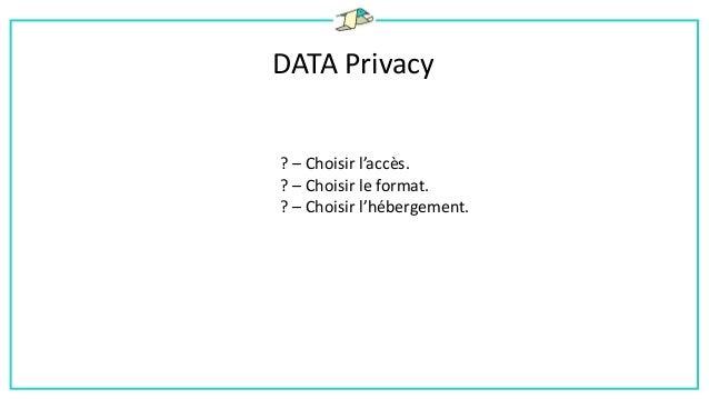 DATA Privacy ! – Le schéma était régulièrement amené à changer. ! – Grand volume de données. ! – Imprédictibilité des modè...