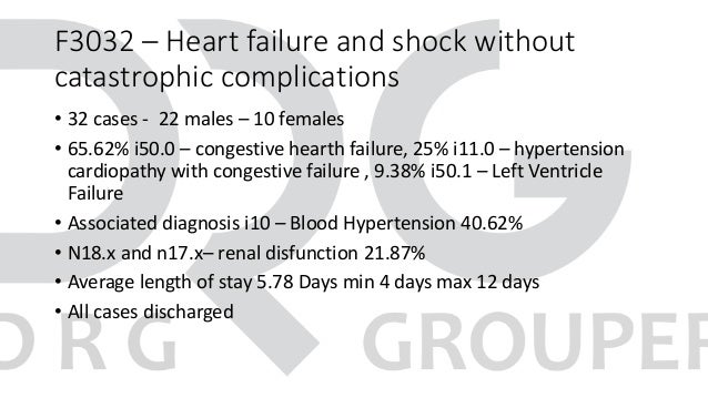 F3032 – Heart failure and shock without catastrophic complications • 32 cases - 22 males – 10 females • 65.62% i50.0 – con...