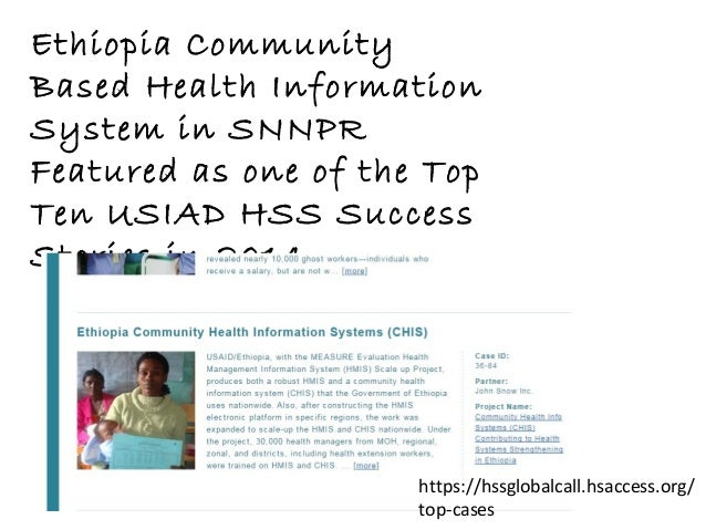 Ethiopia Community Based Health Information System in SNNPR Featured as one of the Top Ten USIAD HSS Success Stories in 20...