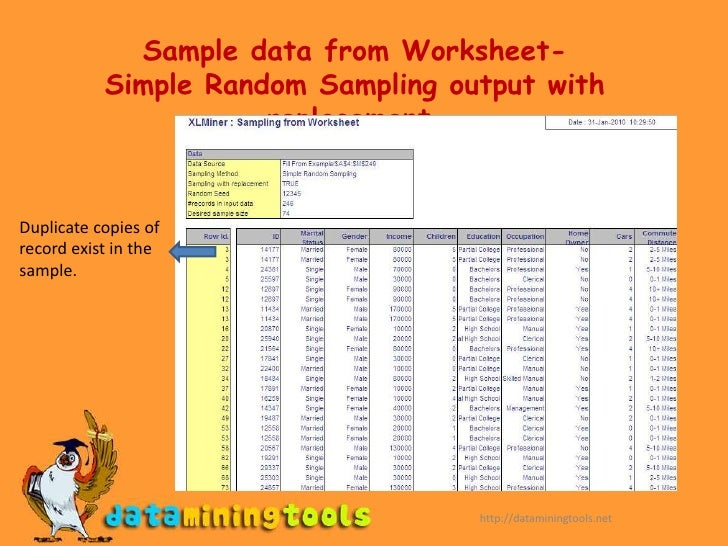 XLMINERData Utilities – Random Sampling Worksheet