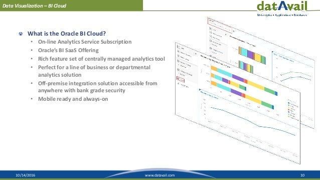 10/14/2016 10www.datavail.com Data Visualization – BI Cloud What is the Oracle BI Cloud? • On-line Analytics Service Subsc...