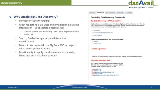 """10/14/2016 20www.datavail.com Big Data Discovery Why Oracle Big Data Discovery? • Perfect for """"Data Wrangling"""" • Great for..."""