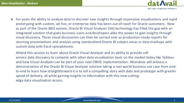 10/14/2016 2www.datavail.com Data Visualization - Abstract For years the ability to analyze data to discover new insights ...