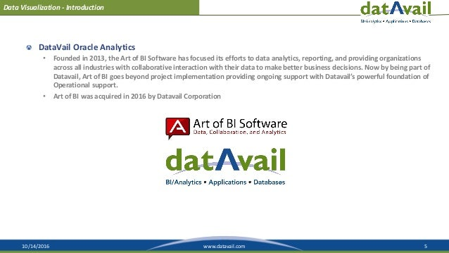 10/14/2016 5www.datavail.com Data Visualization - Introduction DataVail Oracle Analytics • Founded in 2013, the Art of BI ...