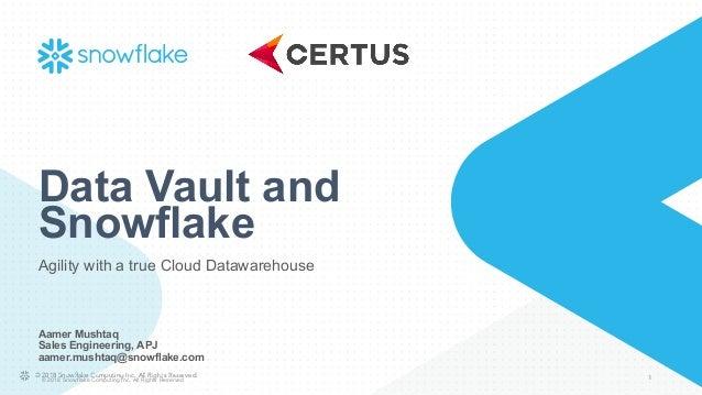 Melbourne: Certus Data 2 0 Vault Meetup with Snowflake - Data Vault I…