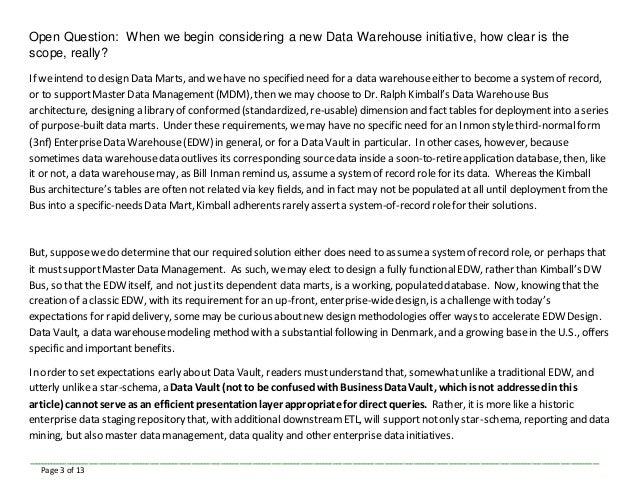 Data Vault: Data Warehouse Design Goes Agile Slide 3