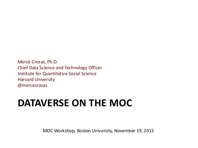 DATAVERSE ON THE MOC Mercè Crosas, Ph.D. Chief Data Science and Technology Officer Institute for Quantitative Social Scien...
