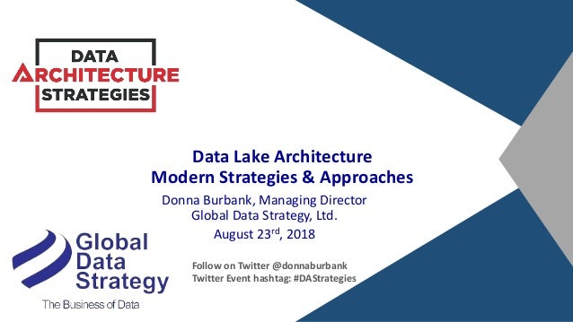 Data Lake Architecture Modern Strategies & Approaches Donna Burbank, Managing Director Global Data Strategy, Ltd. August 2...