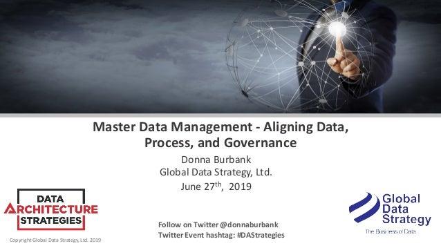 Copyright Global Data Strategy, Ltd. 2019 Master Data Management - Aligning Data, Process, and Governance Donna Burbank Gl...