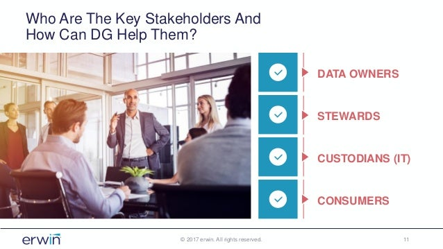 Who Are The Key Stakeholders And How Can DG Help Them? © 2017 erwin. All rights reserved. 11 DATA OWNERS STEWARDS CUSTODIA...