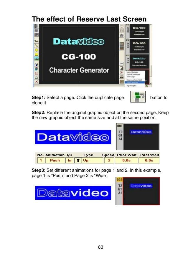 Datavideo CG-100 Character Generator Software SD Versio