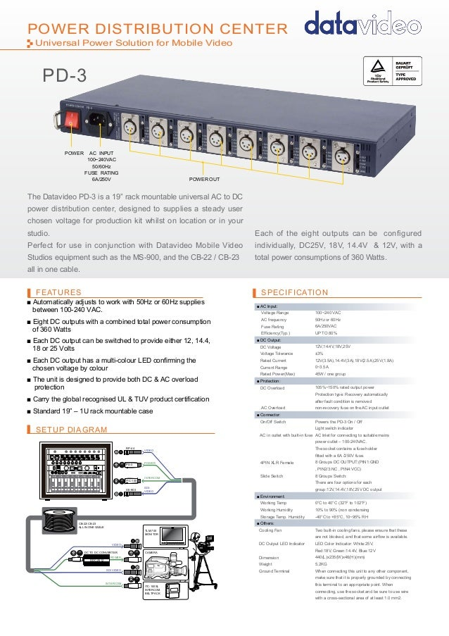 """POWER CENTERSETUP DIAGRAMFEATURES SPECIFICATIONPOWER DISTRIBUTION CENTERThe Datavideo PD-3 is a 19"""" rack mountable univers..."""