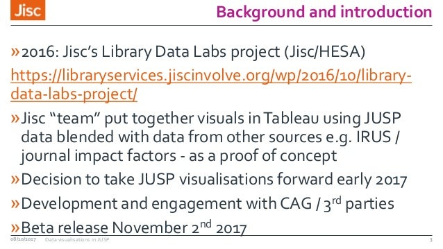Background and introduction »2016: Jisc's Library Data Labs project (Jisc/HESA) https://libraryservices.jiscinvolve.org/wp...
