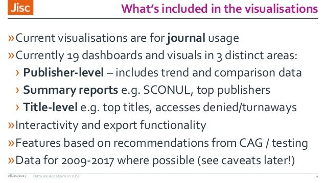 What's included in the visualisations »Current visualisations are for journal usage »Currently 19 dashboards and visuals i...
