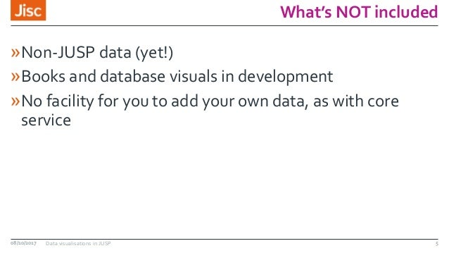 What's NOT included »Non-JUSP data (yet!) »Books and database visuals in development »No facility for you to add your own ...