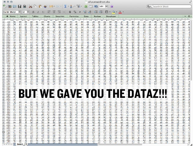 BUT WE GAVE YOU THE DATAZ!!!