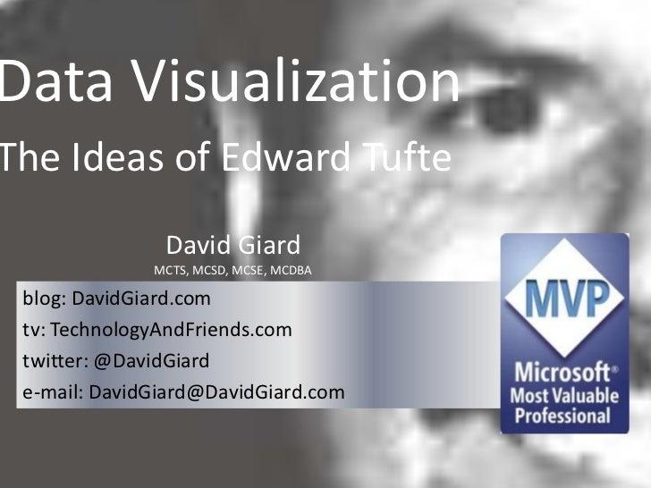 Data VisualizationThe Ideas of Edward Tufte               David Giard              MCTS, MCSD, MCSE, MCDBA blog: DavidGiar...