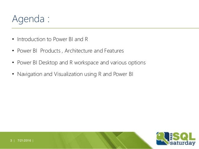 SQL Server 2016 Discovery Day - Data Visualization using R and Power BI