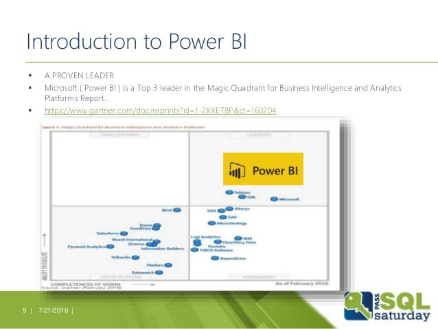Introduction to Power BI  A PROVEN LEADER  Microsoft ( Power BI ) is a Top 3 leader in the Magic Quadrant for Business I...
