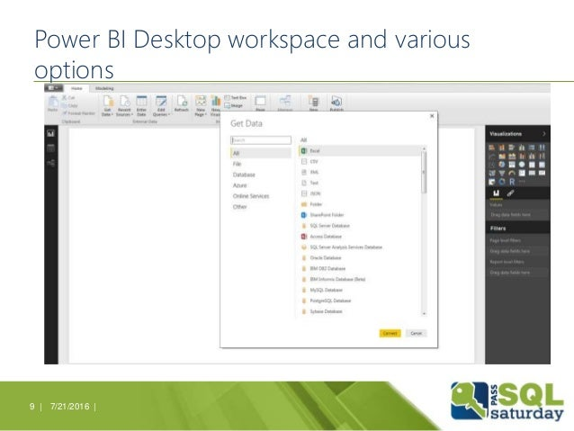 Power BI Desktop workspace and various options 7/21/2016 |9 |