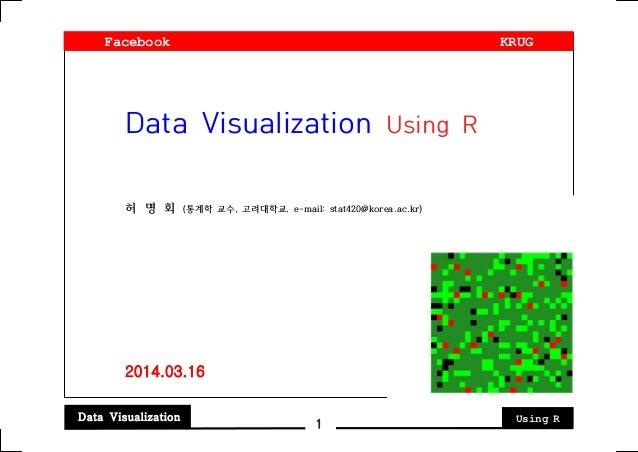 Data Visualization Using R 1 Data Visualization Using R 허 명 회 (통계학 교수, 고려대학교. e-mail: stat420@korea.ac.kr) 2014.03.16 Face...