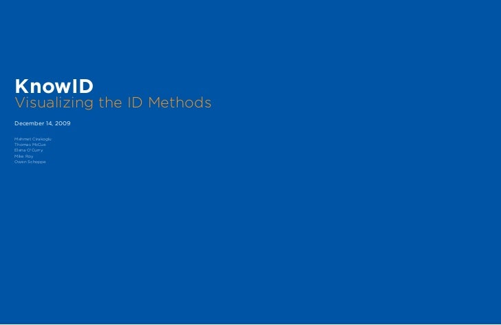 KnowIDVisualizing the ID MethodsDecember 14, 2009Mehmet CirakogluThomas McCueElena O'CurryMike RoyOwen Schoppe