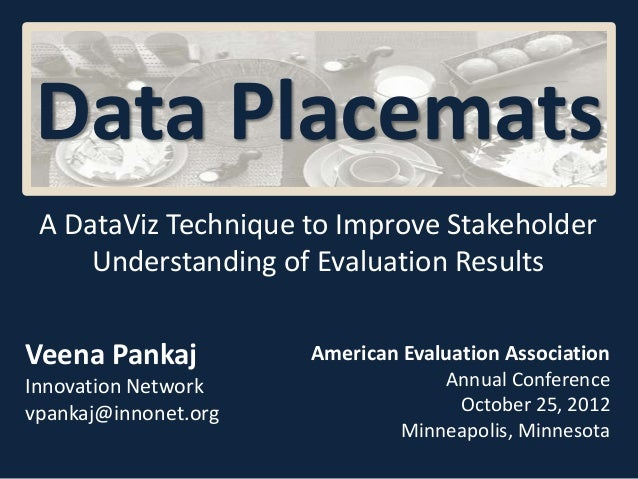 A DataViz Technique to Improve StakeholderUnderstanding of Evaluation ResultsData PlacematsAmerican Evaluation Association...