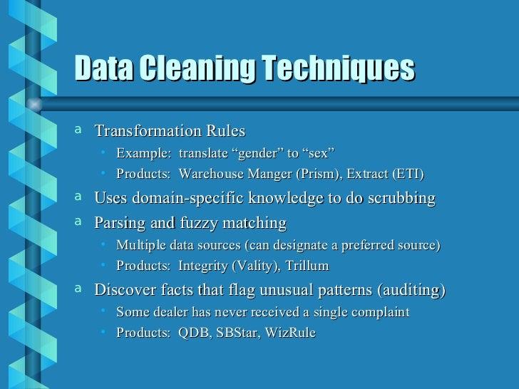 data scrubbing techniques Data Warehouse