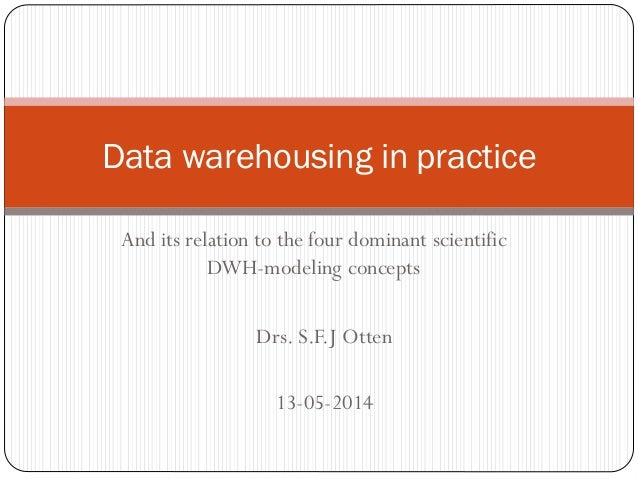 And its relation to the four dominant scientific DWH-modeling concepts Data warehousing in practice Drs. S.F.J Otten 13-05...
