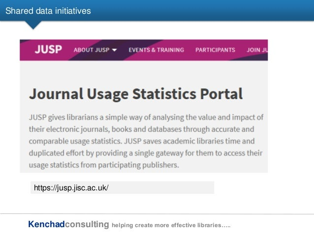 Kenchadconsulting helping create more effective libraries….. Shared data initiatives https://jusp.jisc.ac.uk/