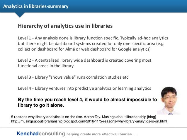 Kenchadconsulting helping create more effective libraries….. Analytics in libraries-summary Hierarchy of analytics use in ...