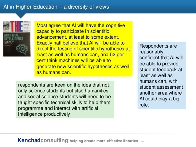 Kenchadconsulting helping create more effective libraries….. AI in Higher Education – a diversity of views Most agree that...