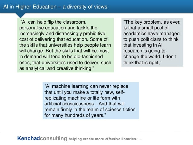 Kenchadconsulting helping create more effective libraries….. AI in Higher Education – a diversity of views ―AI can help fl...