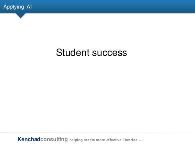 Kenchadconsulting helping create more effective libraries….. Applying AI Student success