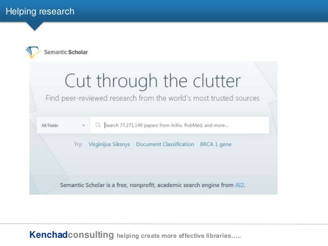 Kenchadconsulting helping create more effective libraries….. Helping research