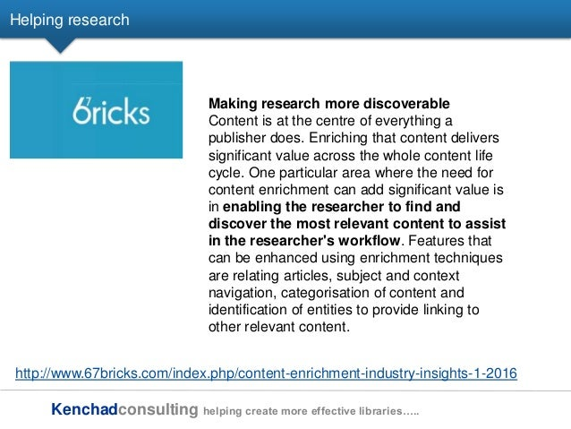 Kenchadconsulting helping create more effective libraries….. Helping research http://www.67bricks.com/index.php/content-en...