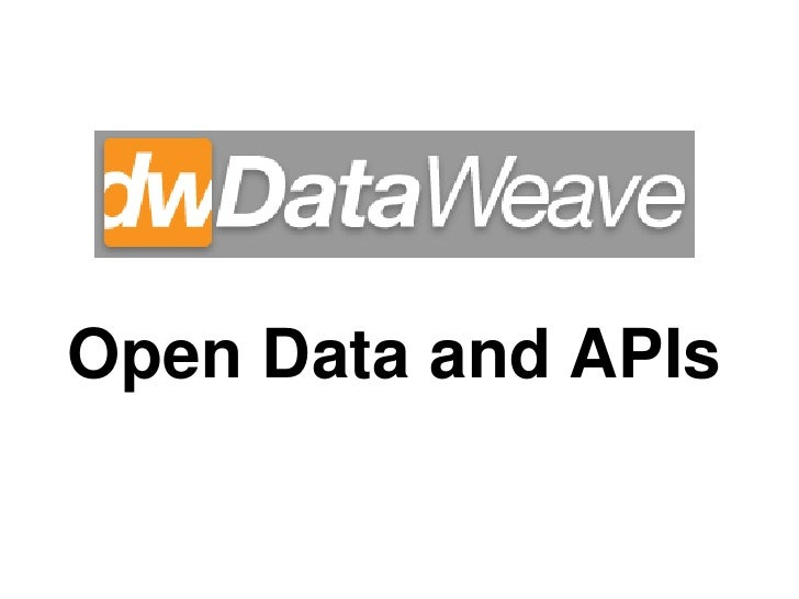 Open Data and APIs