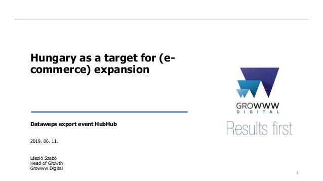 Hungary as a target for (e- commerce) expansion Dataweps export event HubHub 2019. 06. 11. László Szabó Head of Growth Gro...