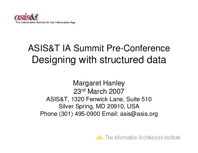 ASIS&T IA Summit Pre-ConferenceDesigning with structured data             Margaret Hanley             23rd March 2007    A...