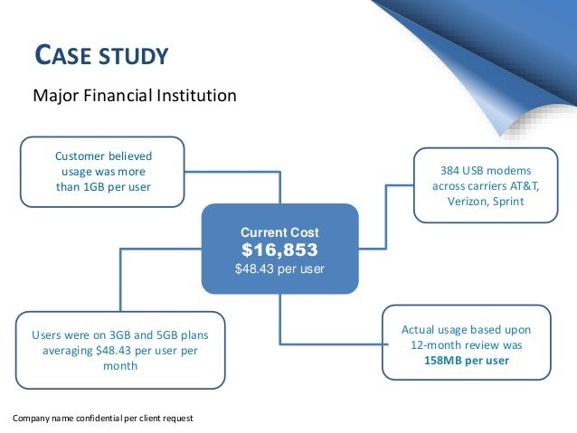 CASE STUDY Major Financial Institution Current Cost $16,853 $48.43 per user Users were on 3GB and 5GB plans averaging $48....