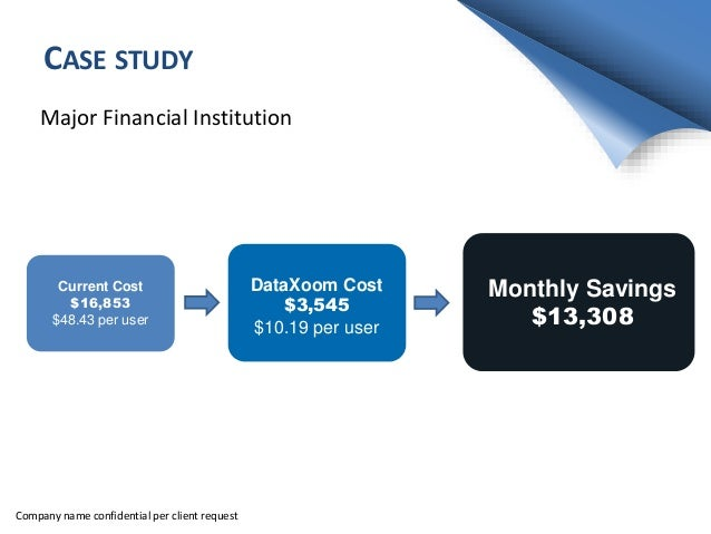 CASE STUDY Major Financial Institution Monthly Savings $13,308 Current Cost $16,853 $48.43 per user DataXoom Cost $3,545 $...