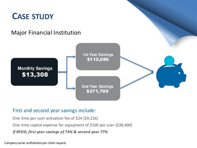 CASE STUDY Major Financial Institution Monthly Savings $13,308 1st Year Savings $112,086 2nd Year Savings $271,789 First a...