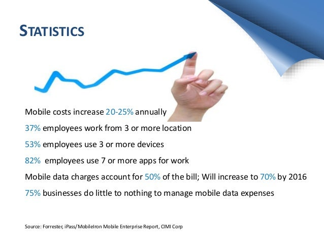 STATISTICS Mobile costs increase 20-25% annually 37% employees work from 3 or more location 53% employees use 3 or more de...
