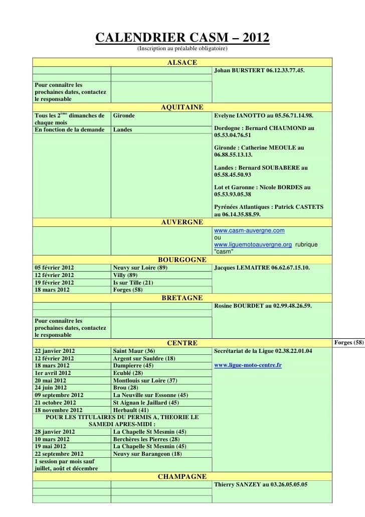 CALENDRIER CASM – 2012                                        (Inscription au préalable obligatoire)                      ...