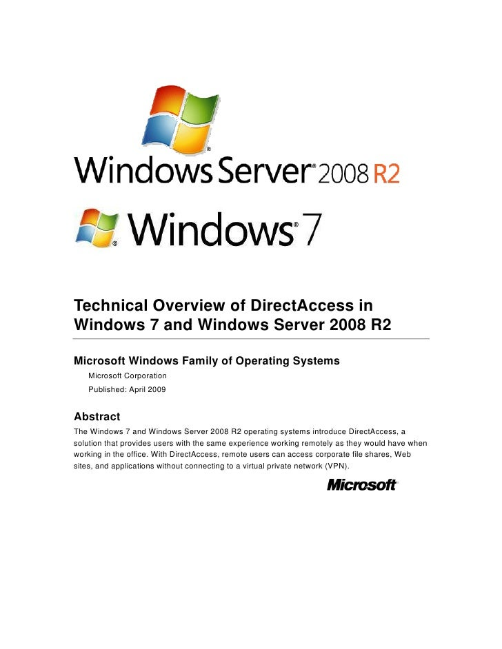 Technical Overview of DirectAccess in Windows 7 and Windows Server 2008 R2  Microsoft Windows Family of Operating Systems ...