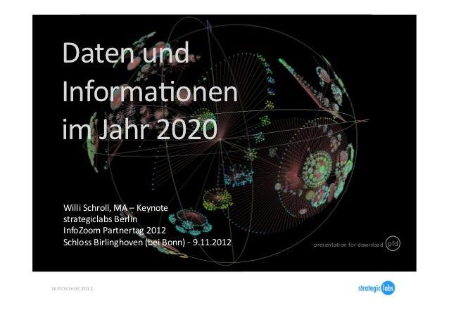 Daten und        InformaIonen        im Jahr 2020        Willi Schroll, MA – Keynote        stra...