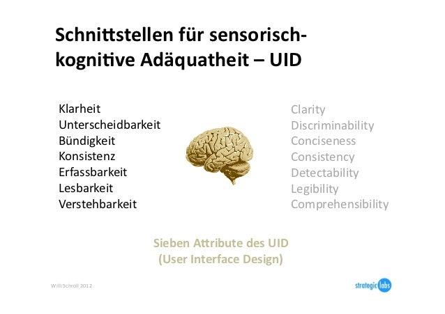 SchniBstellen für sensorisch-‐  kogni6ve Adäquatheit – UID     Klarheit                                    ...